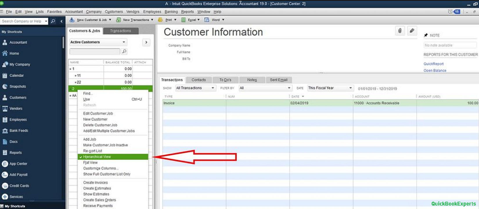 quickBooks Hierarchical View