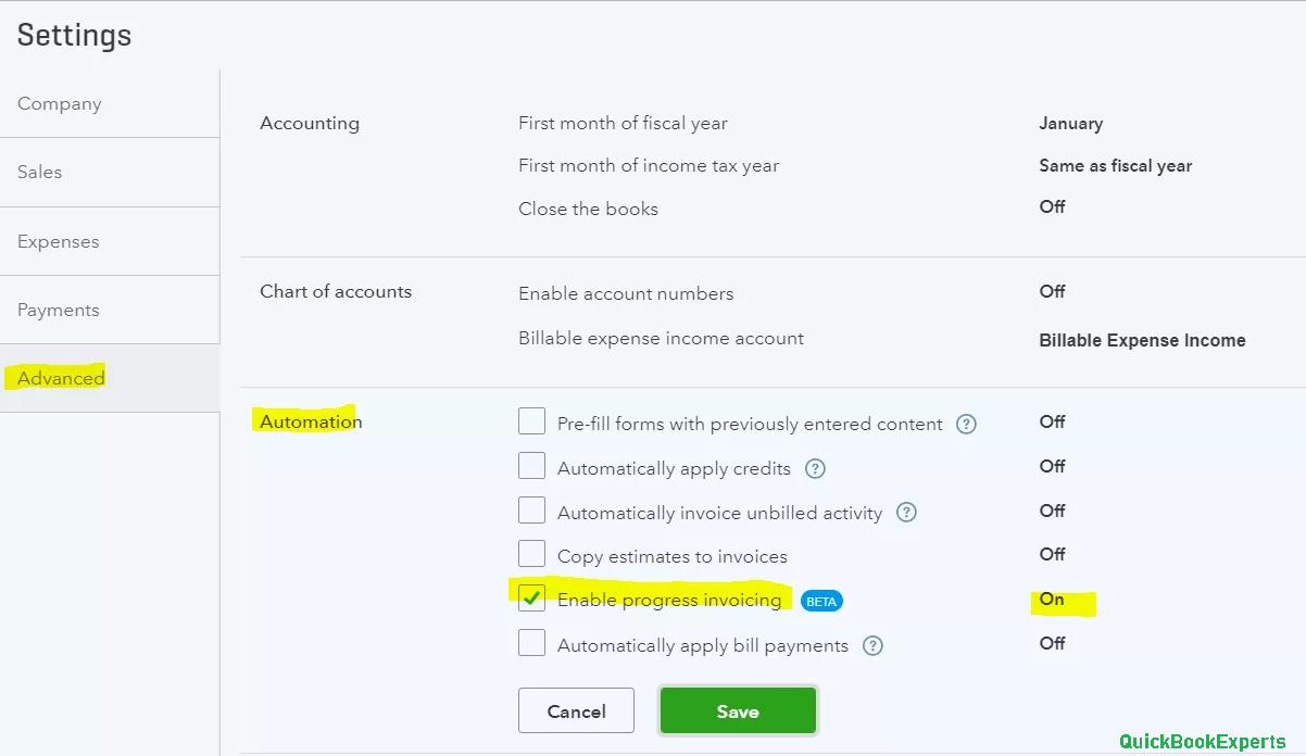 estimate summaries to a progress invoice