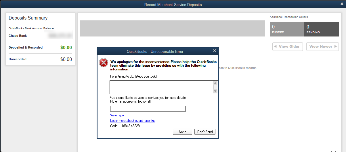 Problem accessing Payments features from within QuickBooks® 2019