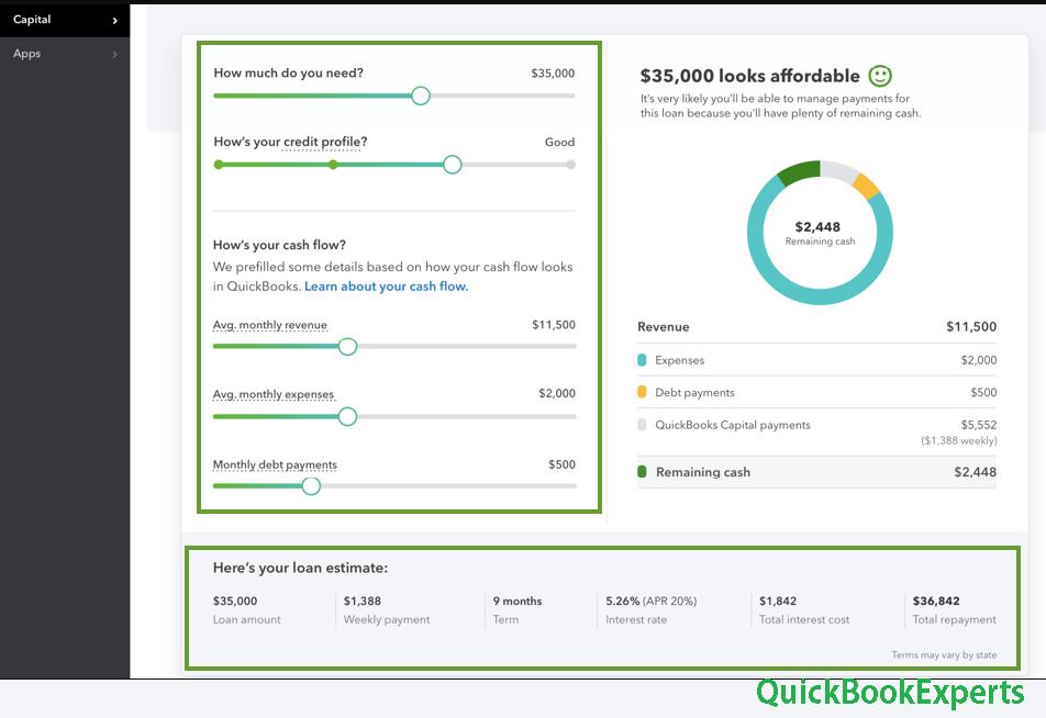 QuickBooks Capital Affordability Calculator