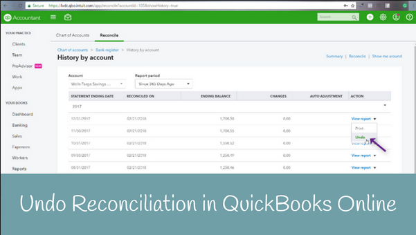 How to Undo Reconciliation in Quickbooks Online